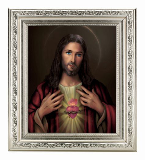 Sacred Heart In Ornate Silver Frame 10X12-inch 8X10 Print
