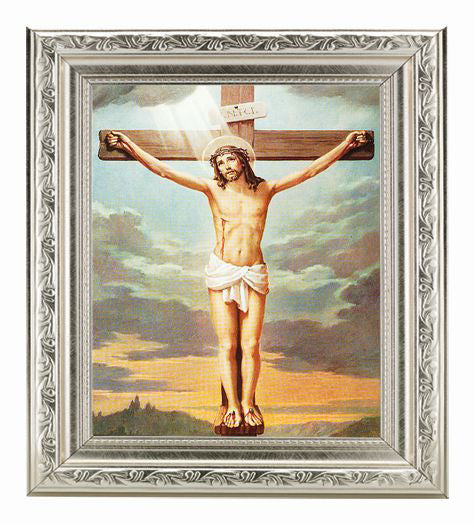 The Crucifixion with Ornate Silver Frame 10X12-inch 8X10 Print