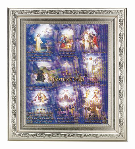 Apostles Creed In Ornate Silver Frame 10X12-inch 8X10 Print