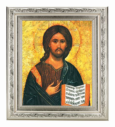Christ The All Knowing Ornate Silver Frame 10X12-inch 8X10 Print
