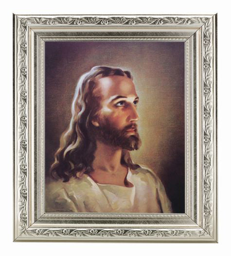 Head Of Christ In Ornate Silver Frame 10X12-inch 8X10 Print