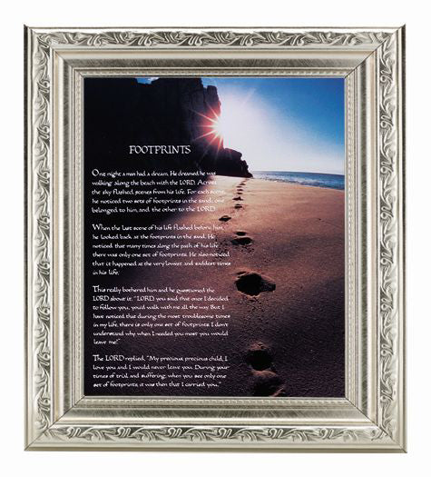 Footprints In Ornate Silver Frame 10X12-inch 8X10 Print