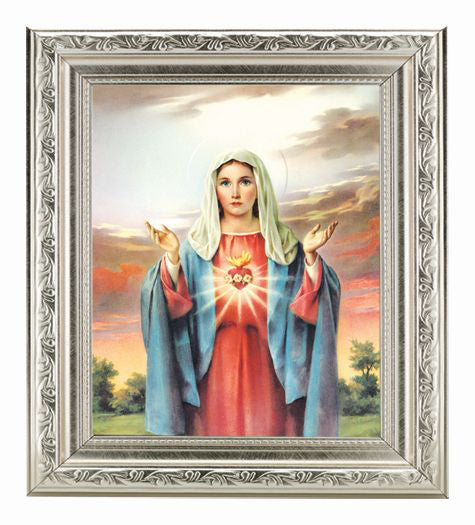 Immaculate Heart In Silver Frame 10X12-inch 8X10 Print