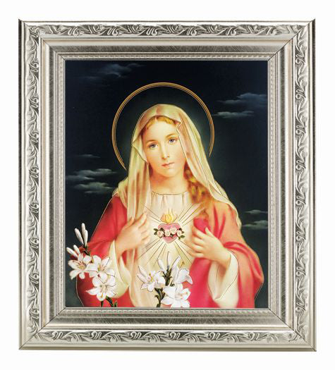 Immaculate Heart 8X10 In Silver Ornate Frame 10X12-inch