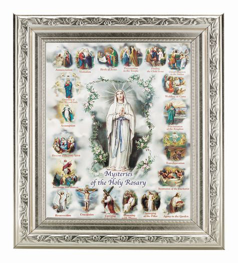 Mysteries Of The Rosary Ornate Silver Frame 10X12-inch 8X10 Print