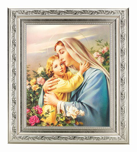 Madonna And Child In Ornate Silver Frame 10X12-inch 8X10 Print