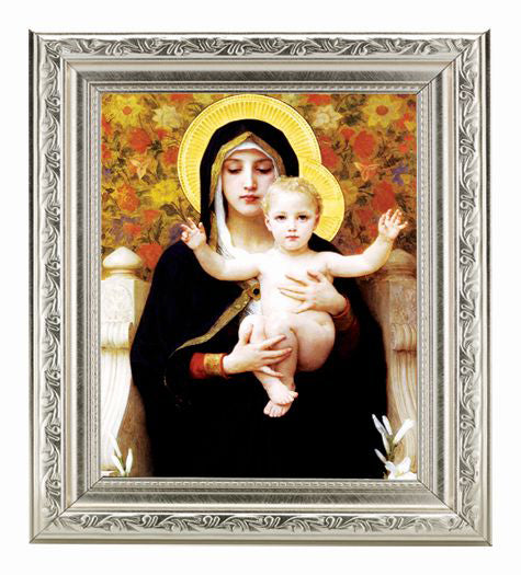Bouguereau: Madonna Of The Roses Silver Frame 10X12-inch 8X10 Print