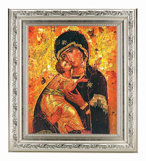 Our Lady Of Vladimir In Ornate Silver Frame 10X12-inch 8X10 Print