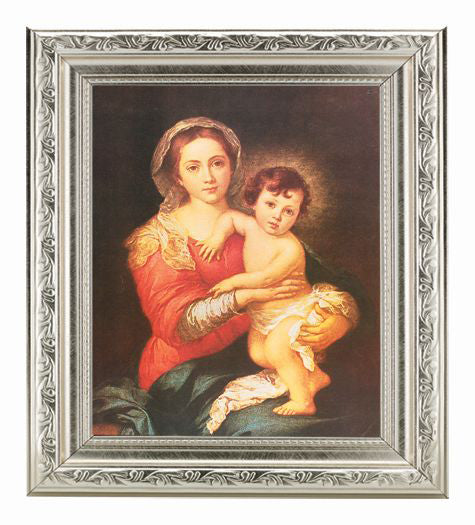 Murillo Madonna and Child Ornate Silver Frame 10X12-inch 8X10 Print