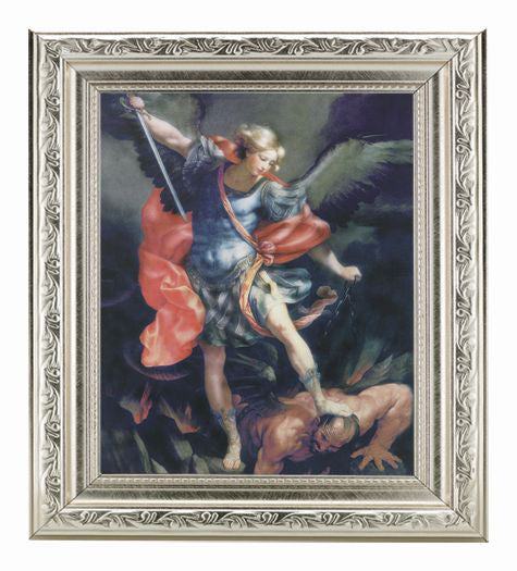 Saint Michael In Ornate Silver Frame 10X12-inch 8X10 Print