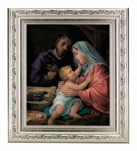 The Holy Family In Ornate Silver Frame 10X12-inch 8X10 Print