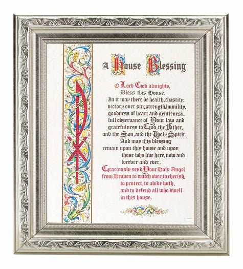 House Blessing In Ornate Silver Frame 10X12-inch 8X10 Print