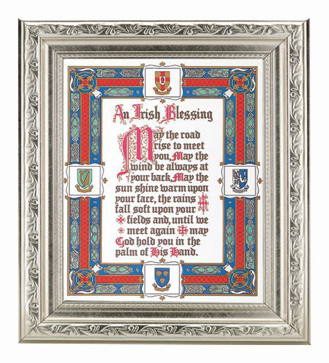 Irish Blessing In Ornate Silver Frame 10X12-inch 8X10 Print