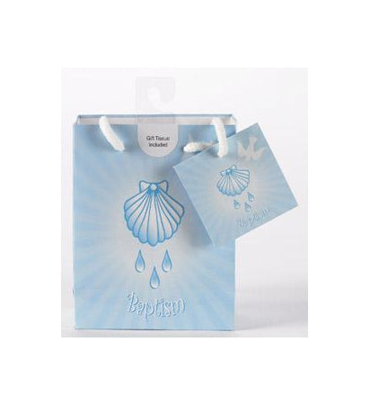 12-Pack - Small Baptism Boy Gift Bag with Gift Tissue