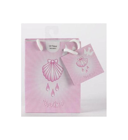 12-Pack - Small Baptism Girl Gift Bag with Gift Tissue