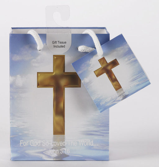 12-Pack - Small Religious Gift Bag with Gift Tissue