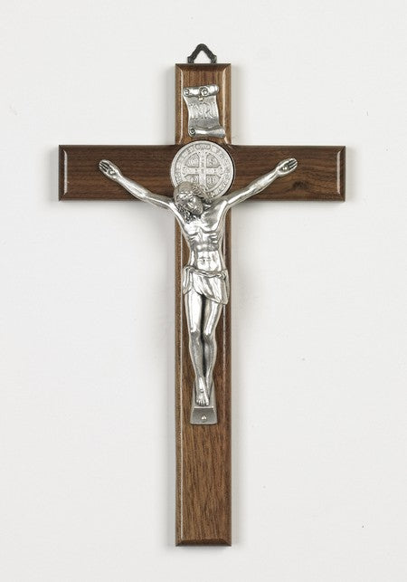 10 inch Nut Wood Saint Benedict Crucifix with Silver Corpus Boxed
