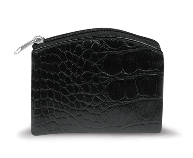 Black Crocodile Skin Pattern Rosary Case