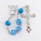 8MM Floral Shape Blue Rosary