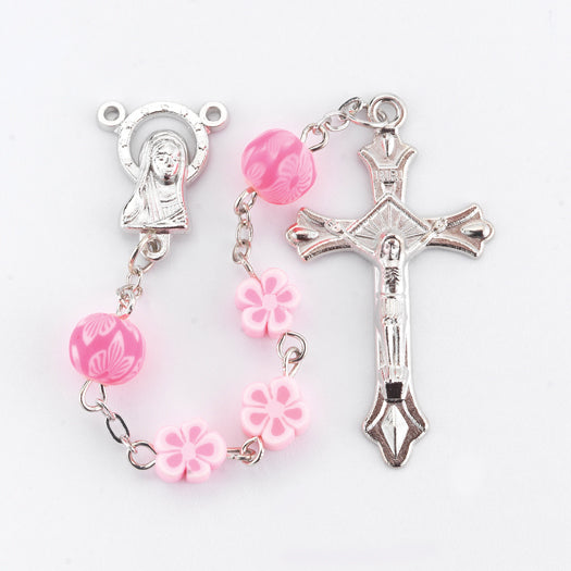 8MM Floral Shape Pink Rosary