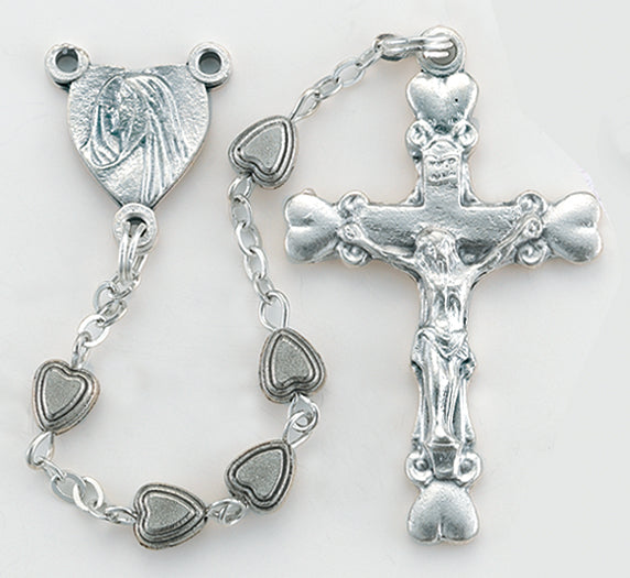 6MM Heart Shaped Silver Bead Rosary