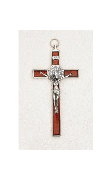 8 inch Pearl Orange Red Saint Benedict Crucifix Boxed