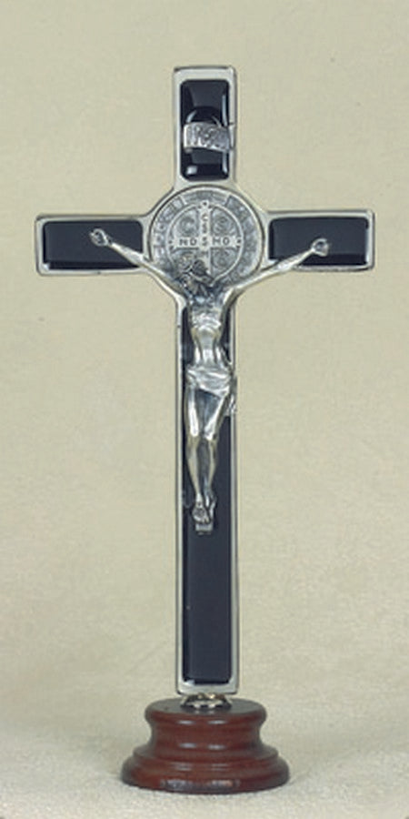 8 inch Black Saint Benedict Enameled Crucifix