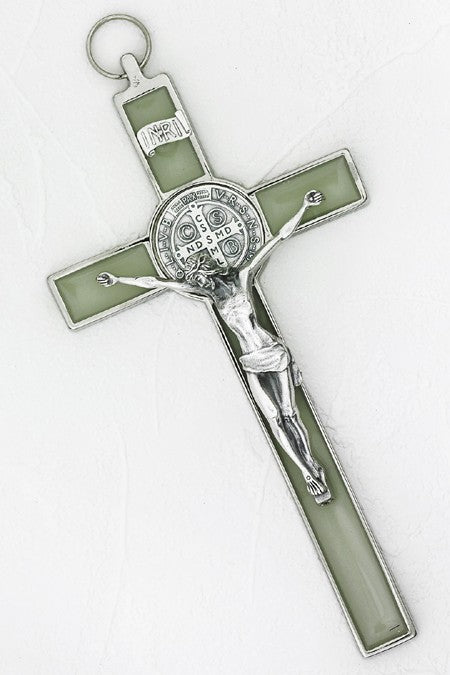 8 inch Luminous Silver Saint Benedict Hanging Crucifix Boxed