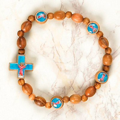 6-Pack - Divino Nino Wooden Cord Bracelet with enameled pictures of the Divino Nino