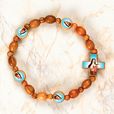 6-Pack - StTherese Wooden Cord Bracelet with enameled pictures of Saint Therese and 6mm beads