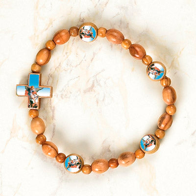 6-Pack - Saint MICHAEL - Wooden Cord Bracelet with enameled pictures and 6mm beads