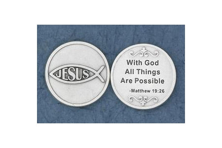 25-Pack - With God All Things are Possible (Matthew 19: 26) - Silver Plated