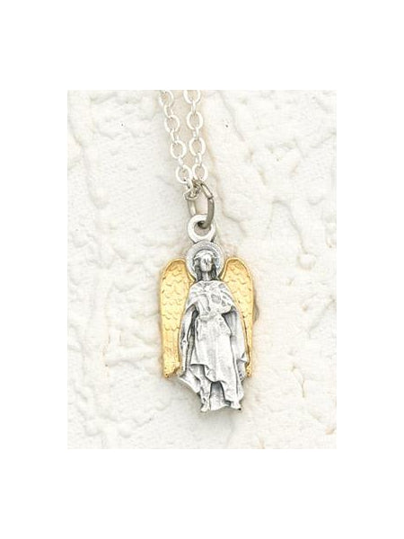 Two Toned 18K Gold Plated and Silver Archangel Uriel with Necklace- 18 inch