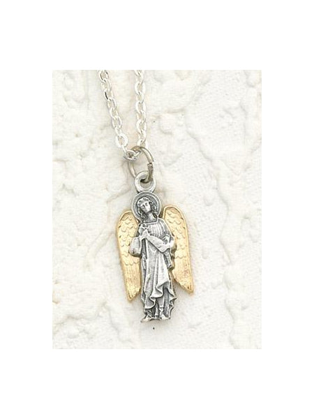 Two Toned 18K Gold Plated and Silver Archangel Raphael with Necklace- 24 inch