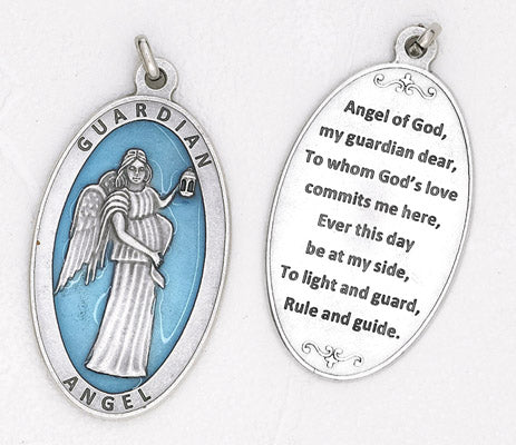 Guardian Angel, Angel Jewelry approx 3-1/2 inch Enameled Pendant