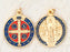 6-Pack - 1-1/4 inch Blue Enameled and Gold Plated Saint Benedict Pendant