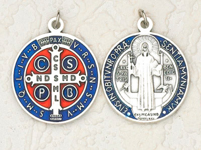 6-Pack - 1-1/4 inch Blue Enameled Silver Saint Benedict Pendant