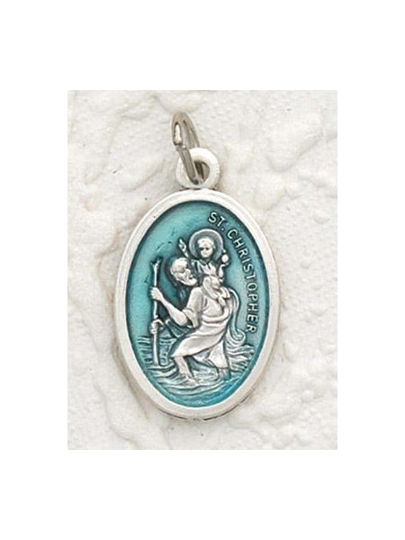 St Christopher Enameled Aqua Pendant and Chain