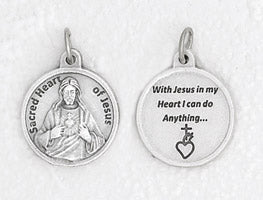3/4 inch Silver Plated Sacred Heart of Jesus Pendant with Prayer on back