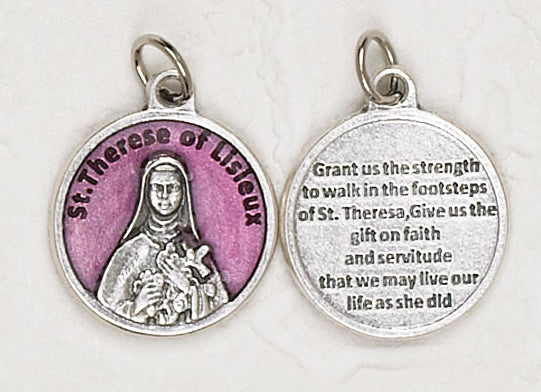 12-Pack - Saint Therese of Lisieux Enameled 3/4 inch Pendant with prayer on back