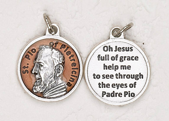 12-Pack - Saint Pio of Pietrelcina Brown Enameled 3/4 inch Pendant with prayer on back