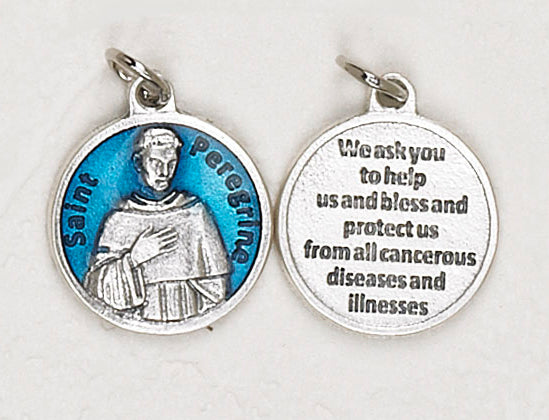 12-Pack - Saint Peregrine Blue Enameled 3/4 inch Pendant with prayer on back