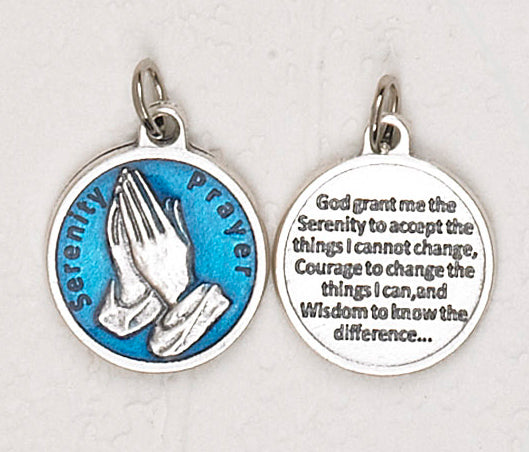 12-Pack - Serenity Prayer Blue Enameled 3/4 inch Pendant with prayer on back