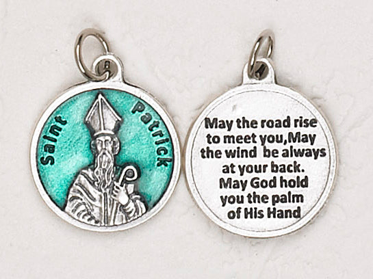12-Pack - Saint Patrick Green Enameled 3/4 inch Pendant with prayer on back
