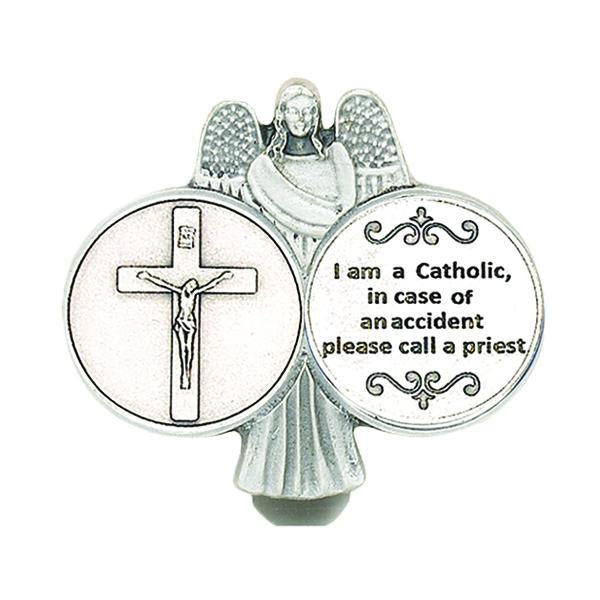 Silver-tone I Am Catholic Visor Clip
