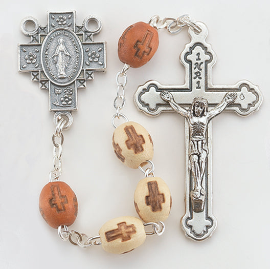8MM Beige Cross Stamped Wood Bead Rosary