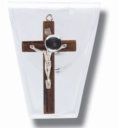 10-Pack - 1-inch Wood Crucifix In Clear Snap Case