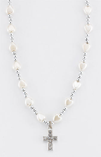 6MM White Heart Necklace With Silver Beads 16-inch With Cross