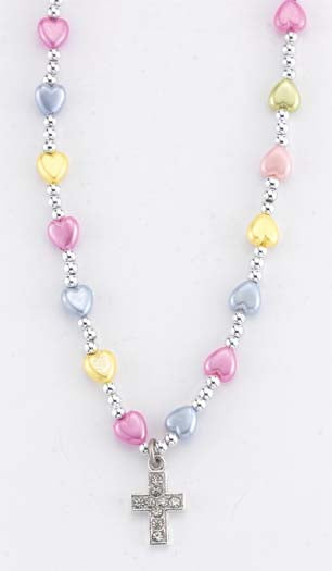 6MM Multicolored Heart Necklace With Silver Beads 16-inch with Cross