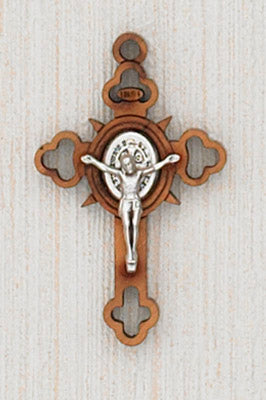 12-Pack - 1-1/2 Inch Saint Benedict Cross Wood, with Silver Corpus